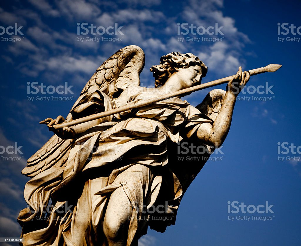 Angel with Lance at Ponte Sant'Angelo in Rome royalty-free stock photo