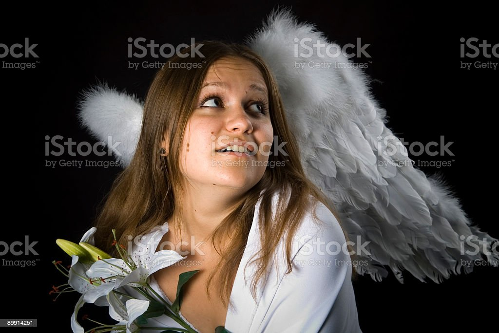 angel with madonna lily royalty-free stock photo