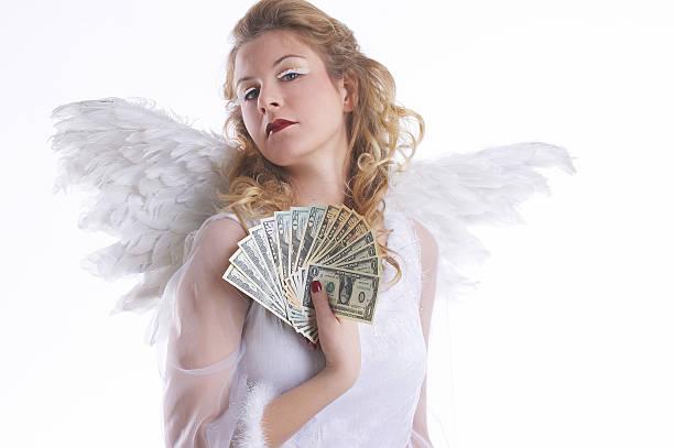 angel mit geld - engelsflügel kaufen stock-fotos und bilder