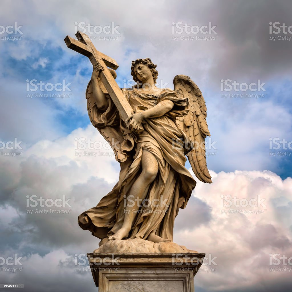 Angel with the Cross on Aelian Bridge in Rome, Italy stock photo
