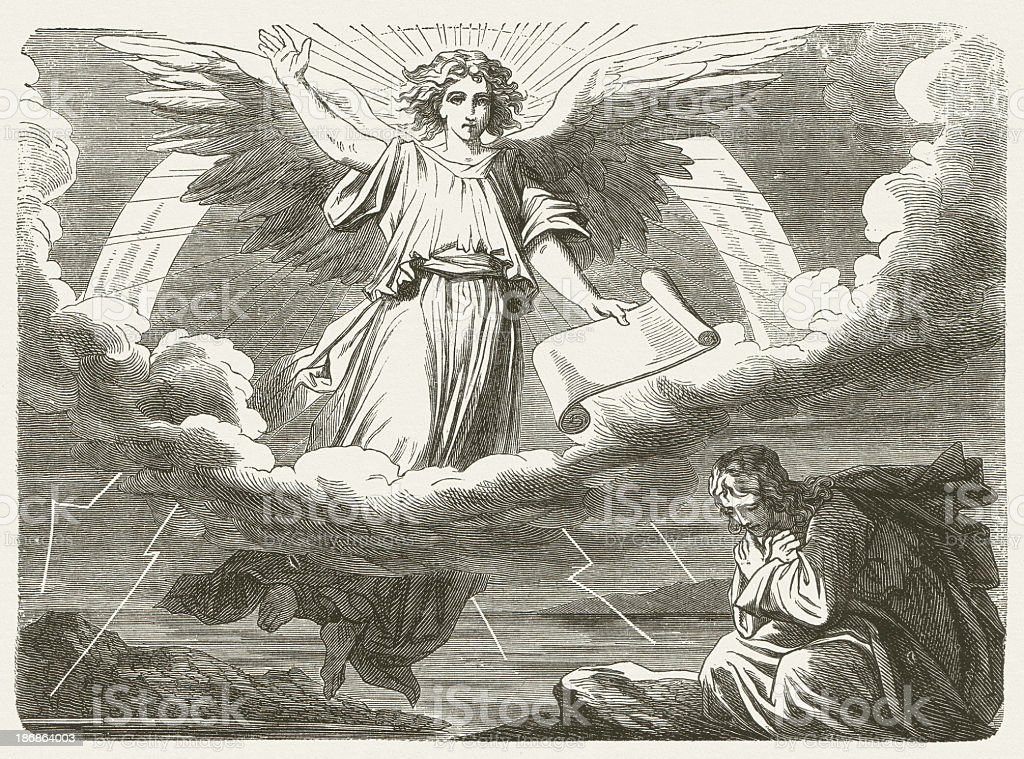 Angel with the little scroll (Revelation, 10, 1-2) stock photo