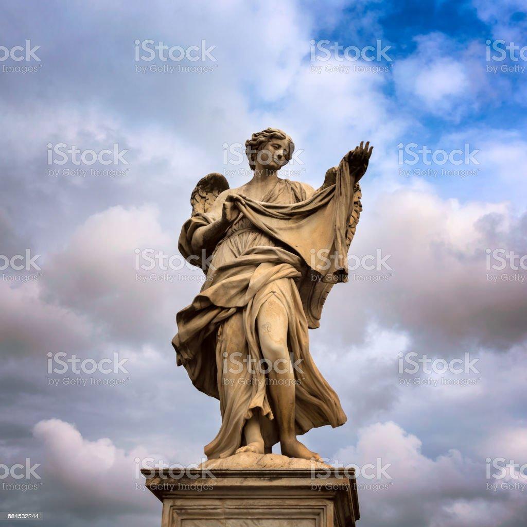 Angel with the Sudarium (Veronica's Veil) on Aelian Bridge in Rome, Italy stock photo
