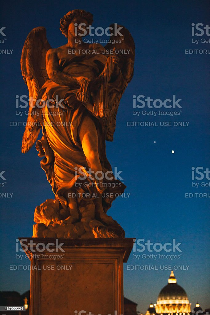 Angel with the Whips on Ponte Sant'Angelo in Rome, Italy stock photo