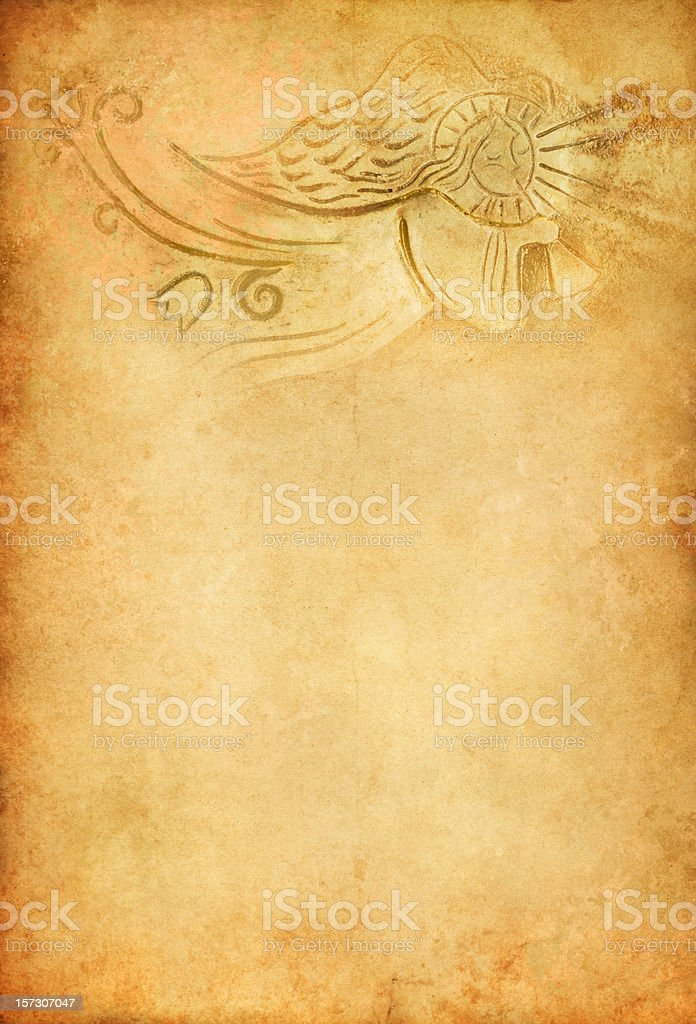 angel with trumpet on old paper royalty-free stock photo