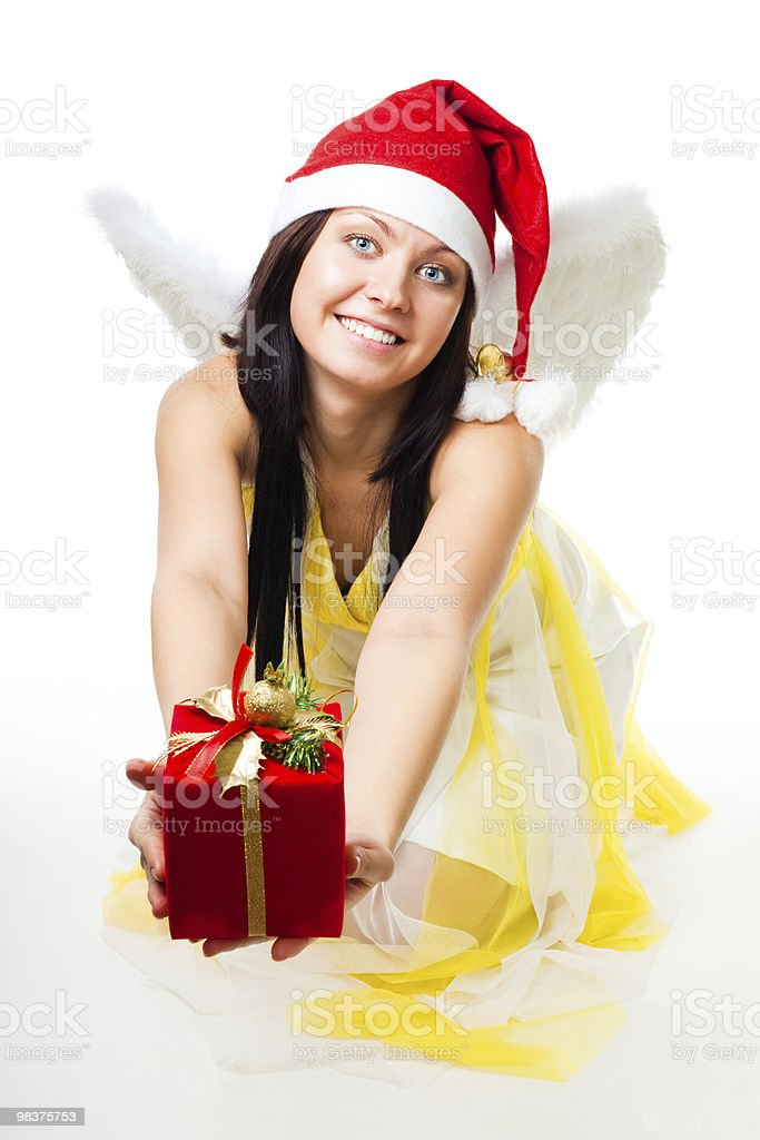 Angel with white wings give present royalty-free stock photo