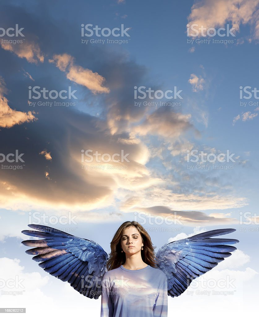 Angel woman with closed eyes in meditation stock photo