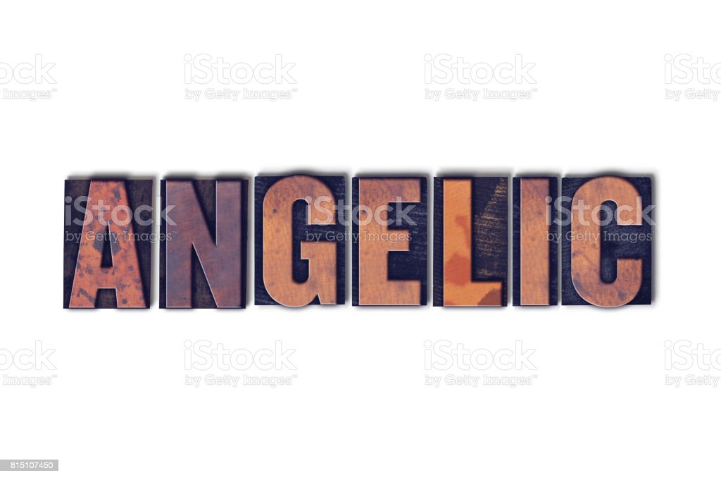 Angelic Concept Isolated Letterpress Word stock photo