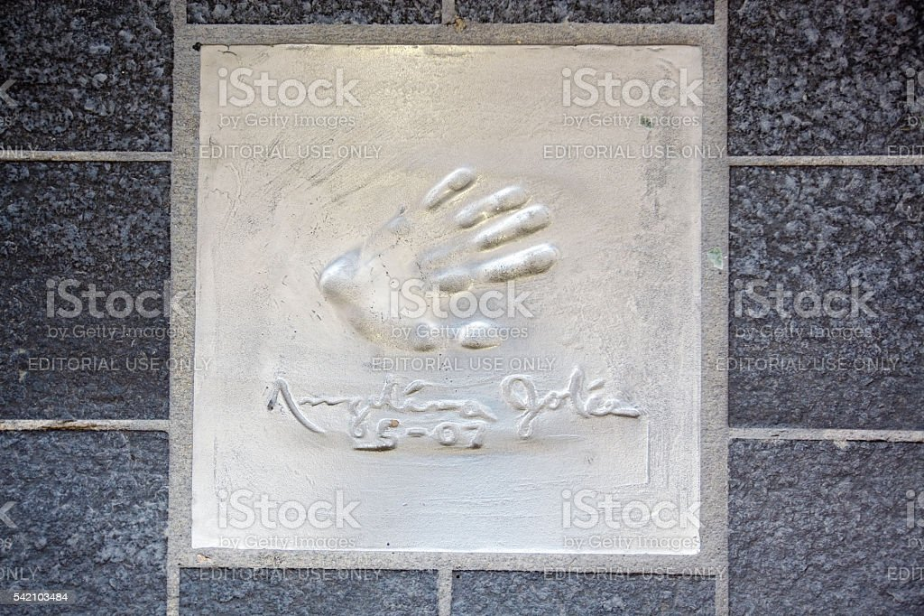 Angelina Jolie handprint and signature in Cannes, France stock photo