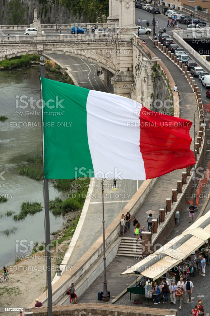 Angelo Castle in Rome with Italian flag stock photo