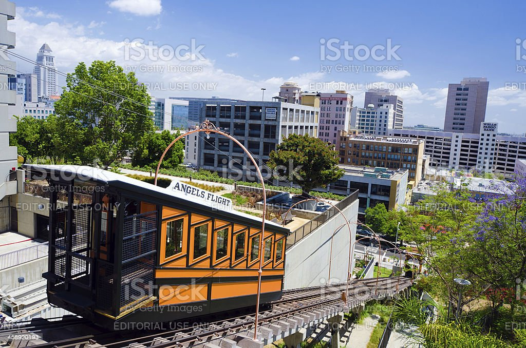 Angels Flight funicular at Bunker Hill in Los Angeles, CA royalty-free stock photo