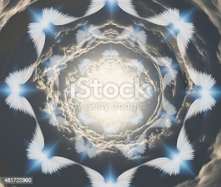 istock Angels in tunnel of clouds 481722960