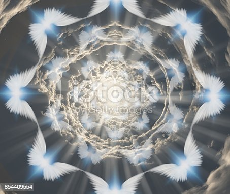 istock Angels in tunnel of clouds 854409554