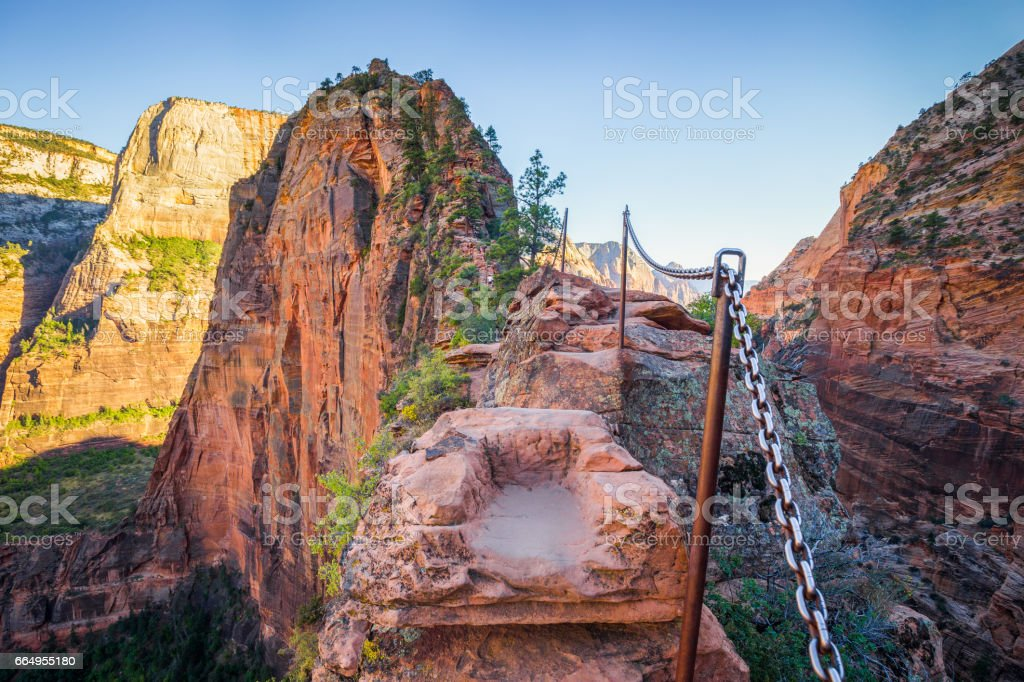Angels landing hiking trail in Zion National Park, Utah, USA stock photo