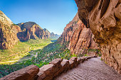 Panoramic view of famous Angels Landing hiking trail lead overlooking scenic Zion Canyon on a beautiful sunny day with blue sky in summer, Zion National Park, Springdale, southwestern Utah, USA