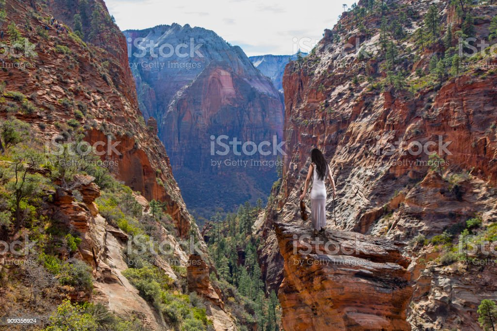 Angels Landing Violinist at Zion stock photo