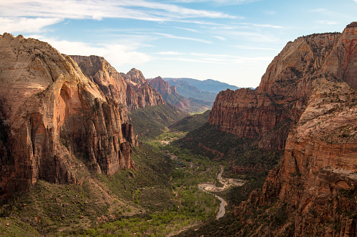 The view from Angels Landing in Zion National Park, Utah, United States