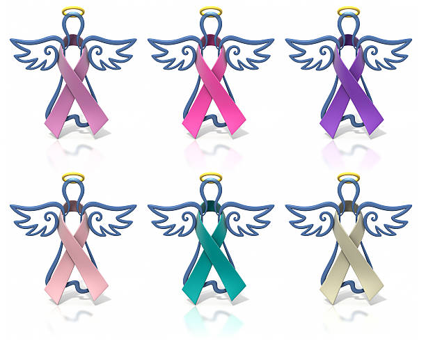 angels outline awareness ribbons - ovarian cancer ribbon stock pictures, royalty-free photos & images