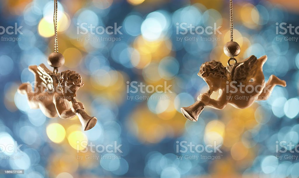 angels singing christmas card stock photo