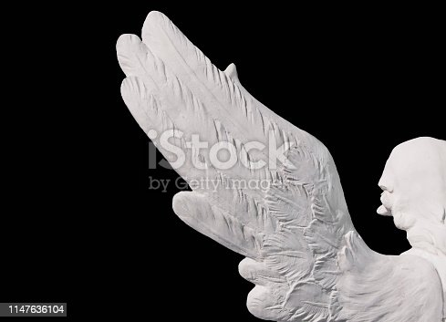 istock Angel's wings Black background. Isolated 1147636104