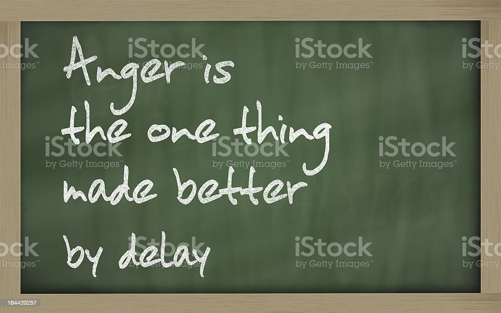 Anger is the one thing made better by delay stock photo