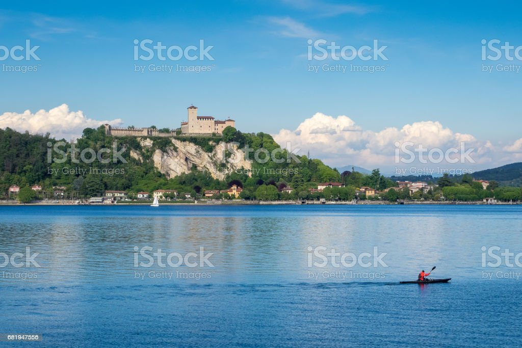 Angera Castle on Maggiore Lake, Lombardy, italy stock photo