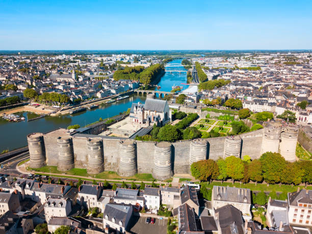 Angers aerial panoramic view, France stock photo