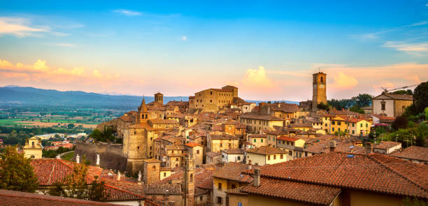 Anghiari medieval village panoramic view. Arezzo, Tuscany Italy Anghiari italian medieval village panoramic view. Arezzo, Tuscany Italy Europe. arezzo stock pictures, royalty-free photos & images