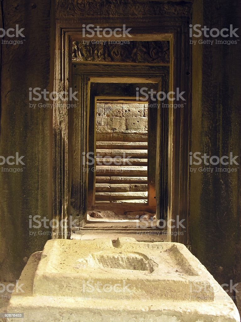Angkor interiors royalty-free stock photo