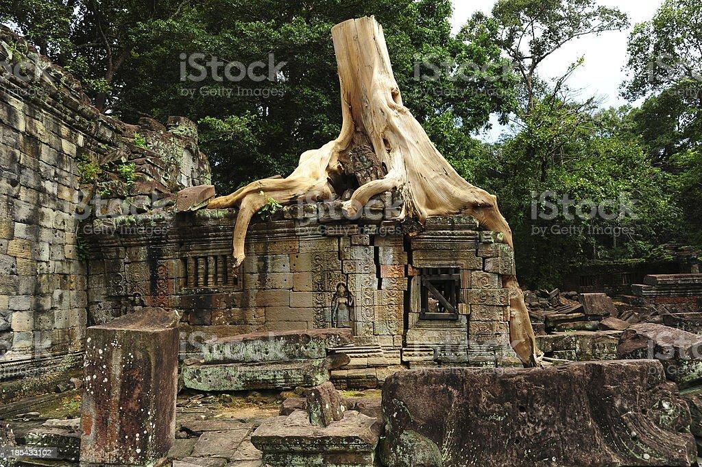 Angkor Preah Khan Temple of Angkor Thom in Cambodia royalty-free stock photo