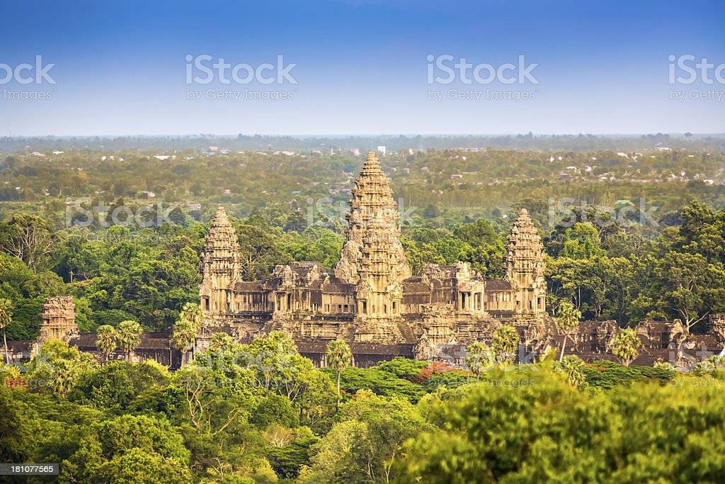 Angkor Thom Aerial View Cambodia stock photo