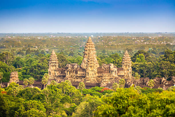 Angkor Thom Aerial View Cambodia View over the tropical forest towards the Angkor Thom Temple Complex. Angkor Thom, Siem Reap, Cambodia. bodhisattva stock pictures, royalty-free photos & images