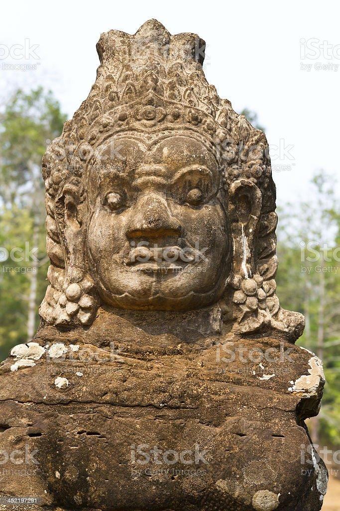 Angkor Thom, Cambodia: statues at entrance royalty-free stock photo