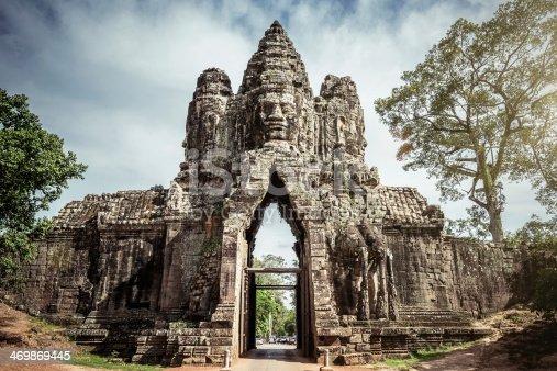 Impressive Stone Entrance Gate of Angkor Thom. Angkor Wat, Cambodia, South East Asia.