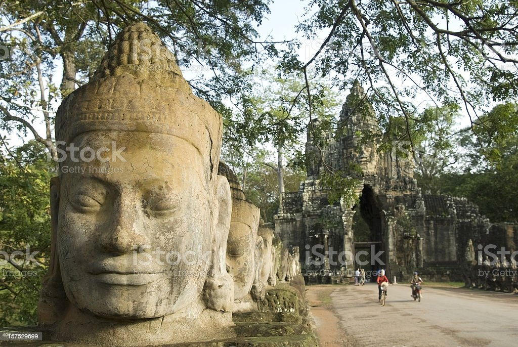 Angkor Thom gate in Angkor Wat in Cambodia royalty-free stock photo