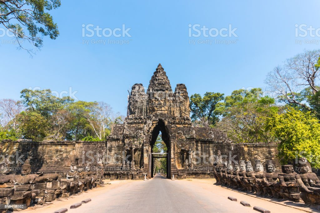 Angkor thom gate in siem reap cambodia stock photo