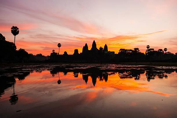 Angkor Wat at Sunrise, Cambodia stock photo