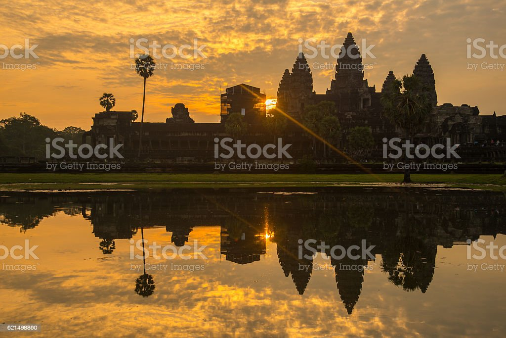 Angkor Wat at sunrise of Siem Reap, Cambodia. foto stock royalty-free