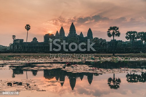 Scenic view of Angkor  Wat  temple at sunrise in Siem Reap, Cambodia