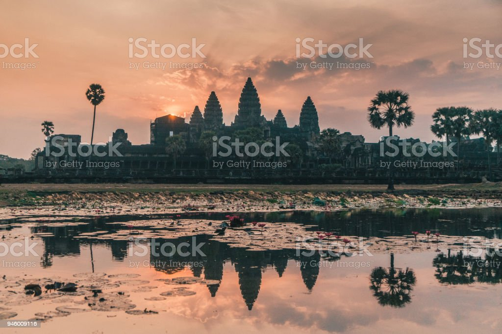 Angkor Wat at sunrise stock photo
