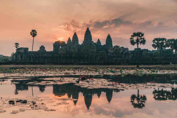 Angkor Wat at sunrise stock photo