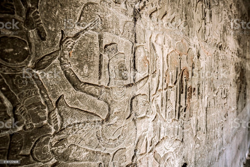 Angkor Wat bas reliefs Cambodia stock photo