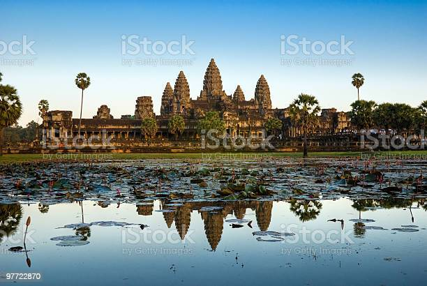 Angkor Wat Before Sunset Cambodia Stock Photo - Download Image Now