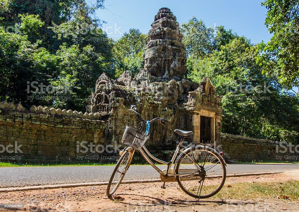 Angkor Wat bicycle tour stock photo