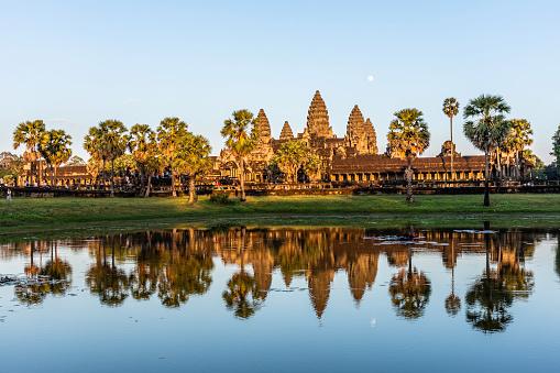 Angkor Wat's reflection on the lake at sunset