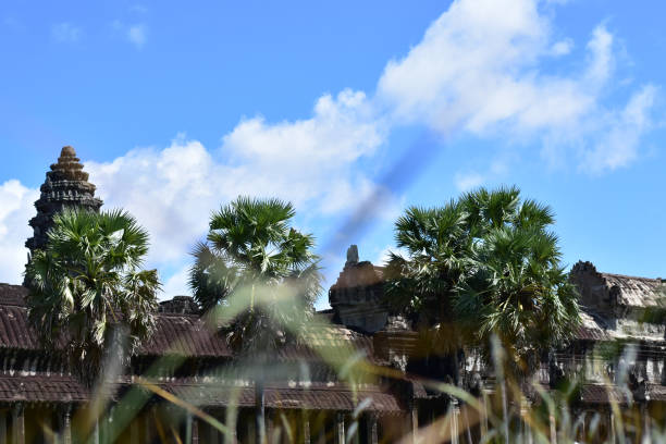 Angkor wat front view stock photo