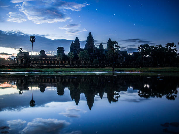 Angkor Wat in blue light at early dawn stock photo
