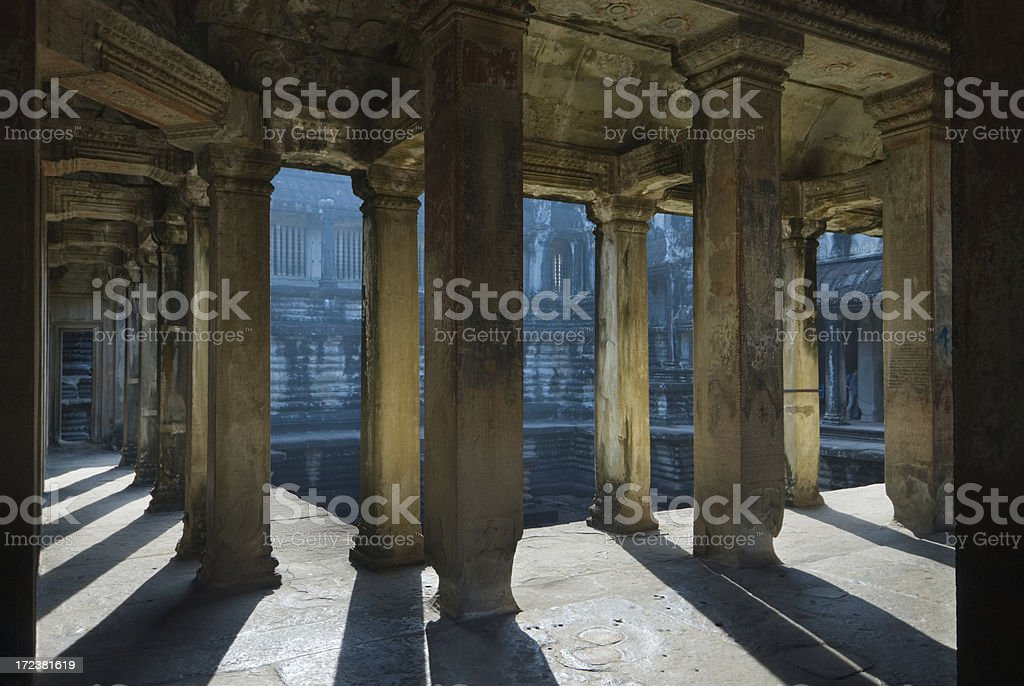 Angkor Wat - Interior with Pillars royalty-free stock photo