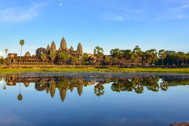 Angkor wat is a temple complex in Cambodia and on of the largest religious monuments stock photo