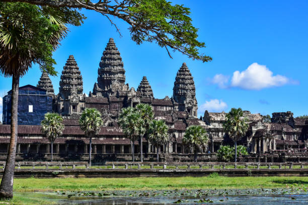 Angkor Wat is a temple complex in Cambodia and one of the largest religious monuments stock photo