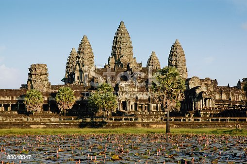 Angkor Wat and Lotus pond in the front